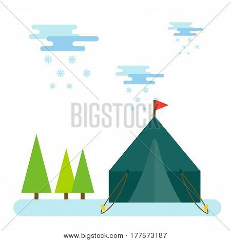 Forest camping vector concept with tourist outdoor tent. Outdoor tent winter nature leisure and activity camping outdoor tent. Forest sport landscape campsite outdoor tent wilderness.