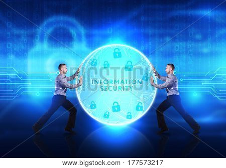 Technology, Internet, Business And Network Concept. Young Business Man Provides Cyber Security: Info