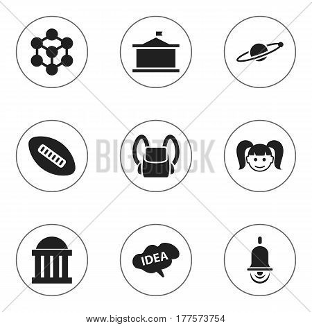 Set Of 9 Editable Science Icons. Includes Symbols Such As Univercity, Schoolbag, Alarm Bell And More. Can Be Used For Web, Mobile, UI And Infographic Design.