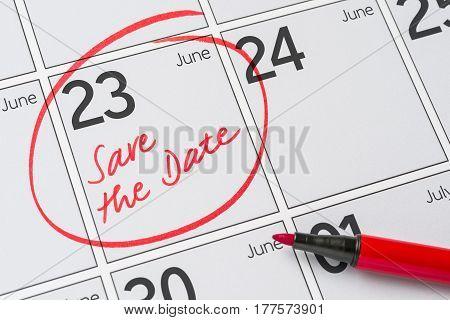 Save The Date Written On A Calendar - June 23