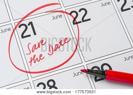 Save The Date Written On A Calendar - June 21