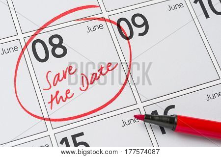 Save The Date Written On A Calendar - June 08