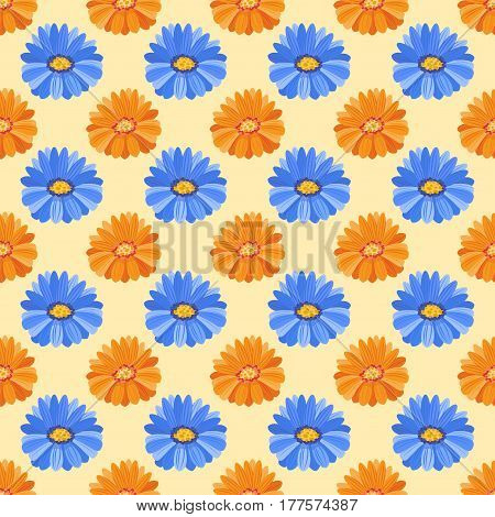 Hand drawn flower seamless pattern wallpaper with print gerbera ornament decoration and floral graphic art nature drawing vector illustration. Spring blossom artwork botanical paper.