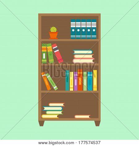 Flat design wardrobe of cupboard icon isolated vintage lifestyle retro larder with shelves and storage box interior design vector illustration. Home storing modern larder shelves room decoration.