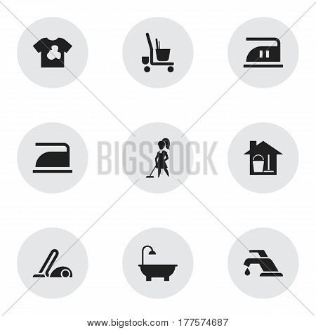 Set Of 9 Editable Cleanup Icons. Includes Symbols Such As Ironing, Tidy, Bucket With Mop And More. Can Be Used For Web, Mobile, UI And Infographic Design.