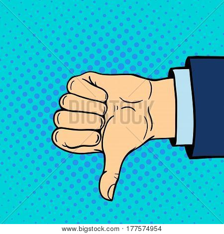 Hand showing thumbs down deaf-mute gesture human arm hold communication and direction design fist touch pop art style colorful vector illusstration. Forefinger unity point showing.