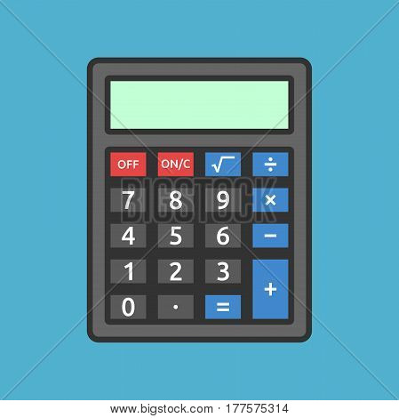 Black calculator with color buttons on blue background. Education mathematics and accounting concept. Flat design. Vector illustration. EPS 8 no transparency