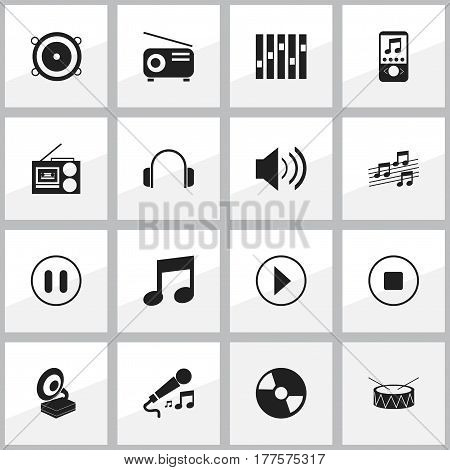 Set Of 16 Editable Mp3 Icons. Includes Symbols Such As Snare, Media Fm, Musical Sign And More. Can Be Used For Web, Mobile, UI And Infographic Design.