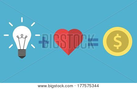 Lightbulb, Heart And Money
