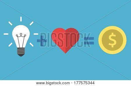 Lightbulb, Heart And Money