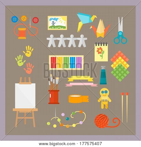 Themed kids creativity creation symbols poster in flat style with artistic objects for children art school fest unusual toys network movie vector illustration. Hand drawn signs for games.