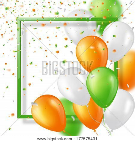 Holiday background with glossy three colors balloons confetti and frame. Elements with blur effect. Vector illustration.