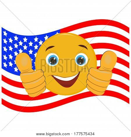 American flag with a smile , a vector image of the flag