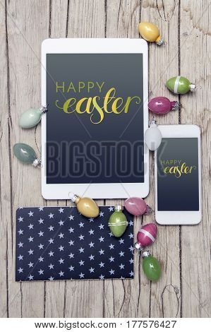 Business Easter Decoration On Wood Background