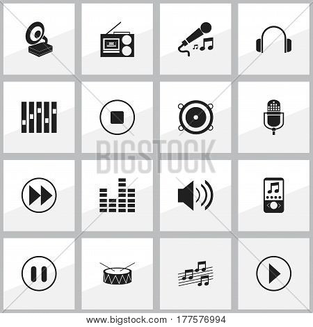 Set Of 16 Editable Music Icons. Includes Symbols Such As Phonograph, Karaoke, Rewind And More. Can Be Used For Web, Mobile, UI And Infographic Design.