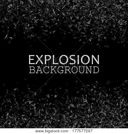 Black explosion, Falling shards on black background, Abstract vector illustration