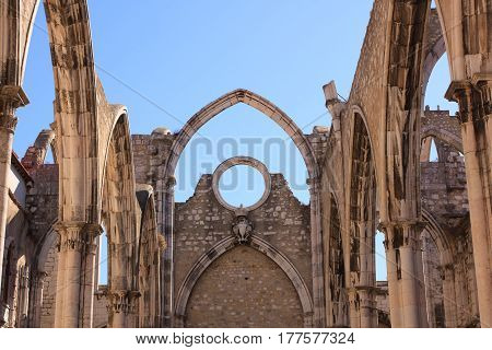Open roof of Gothic Church of Our Lady of Mount Carmel, in Portuguese Igreja do Carmo, ruins in Lisbon, Portugal.