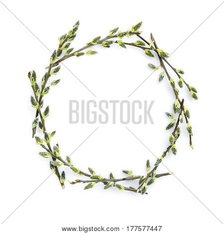 Pussy-willow Branches Circle Frame. Decorative Wreath On White Background Perfect For Easter Card Or