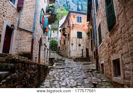 Kotor, Montenegro. Empty streets of old medieval town Kotor, Montenegro