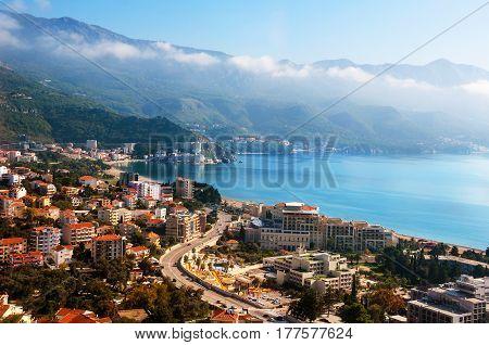 Budva, Montenegro coast. Aerial view of Budvanska Riviera, Montenegro. Adriatic resort with beach and sea