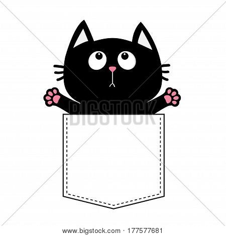 Black cat in the pocket ready for a hugging. T-shirt design. Open hand paw print. Kitty reaching for a hug Funny Baby card. Cute cartoon character Pet collection Flat White background. Isolated Vector