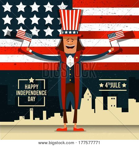 American Independence Day. The 4th of July. A man in national costume at the backdrop of the American flag. Vector illustration.