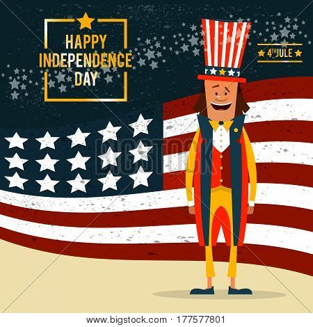 American Independence Day. The 4th of July. Man in traditional costume on the background of the flag of the United States. Vector illustration.