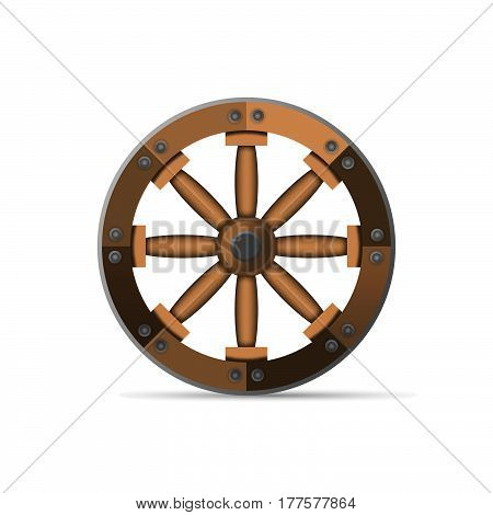 The wooden wheel. An ancient invention. Vector illustration isolated on white background.