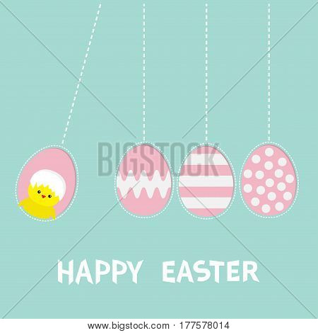 Happy Easter text. Hanging pink painting pattern egg set. Chicken bird with shell. Dash line. Perpetual motion mobile. Greeting card. Flat design style. Cute decoration element. Vector illustration