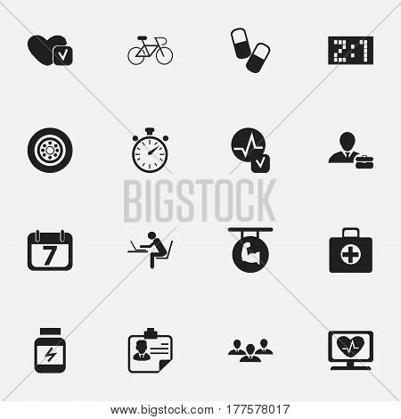 Set Of 16 Editable Mixed Icons. Includes Symbols Such As First Aid Box, Biceps, Protein And More. Can Be Used For Web, Mobile, UI And Infographic Design.