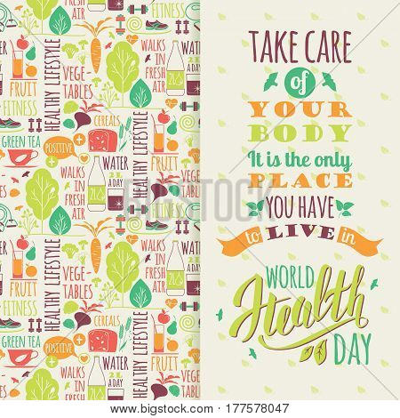 World health day concept with hand draw lettering and healthy lifestyle illustration. Vector.