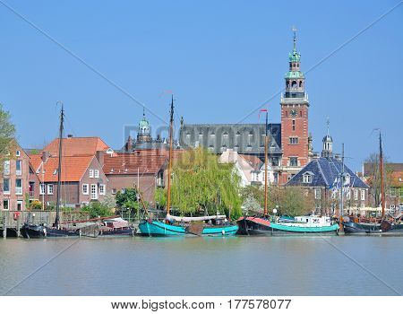 Village of Leer in East Frisia with Harbor and City Hall,North Sea,lower Saxony,Germany