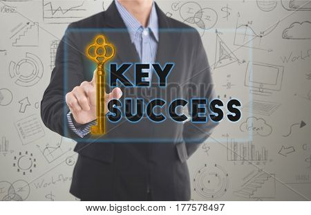 Businessman hand pressing wording key to success. sign on virtual screen. can used for cover page presentation and web banner. business strategic concept.