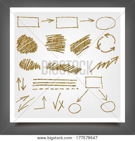 Hand Drawn Gold Design Elements.