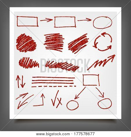 Hand Drawn Red Gold Design Elements.