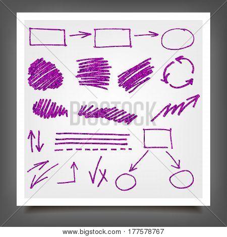 Hand Drawn Violet Gold Design Elements.