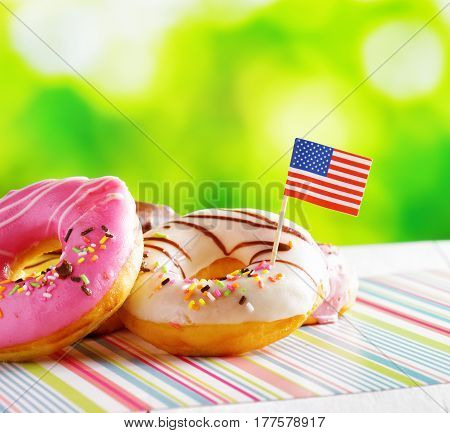Colorful Donuts With Flag Of Usa