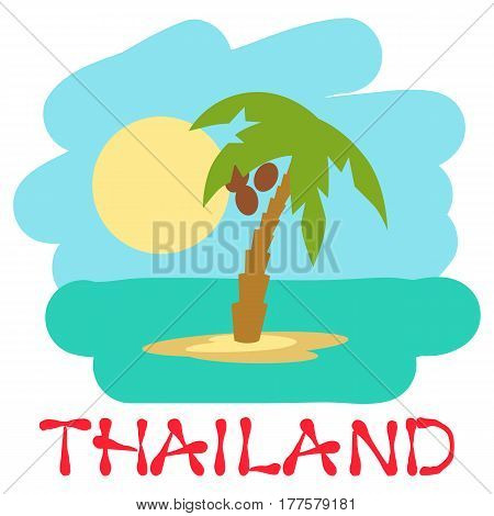 Tropical island with palm trees. Vector illustration icon lettering Thailand.