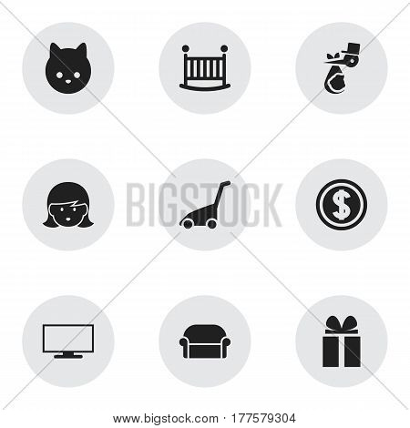 Set Of 9 Editable Family Icons. Includes Symbols Such As Monitor, Child Cot, Mother And More. Can Be Used For Web, Mobile, UI And Infographic Design.