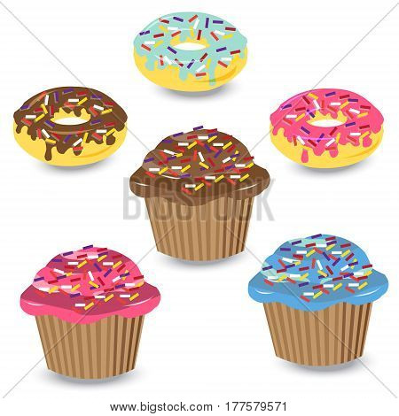 Vector set of colorful cupcakes and donuts in the style of flat isolated on a white background.