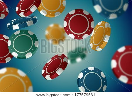 Color casino chips falling in different positions on retro background. Poker turquoise backdrop with defocused blur elements.