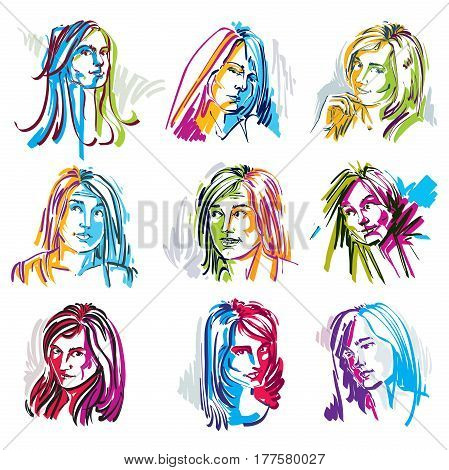 Attractive young ladies vector art portraits collection outline. Facial expression of females different characters.