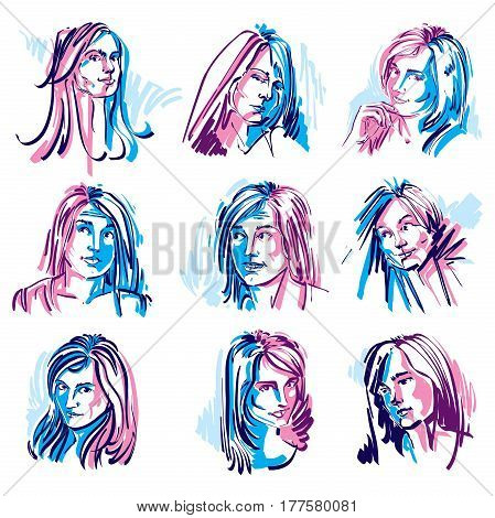 Set of colorful vector art portraits of females drawn in minimalism style. Illustration of women expressing different emotions.