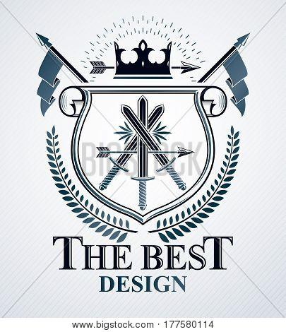 Vector emblem created in vintage heraldic design.