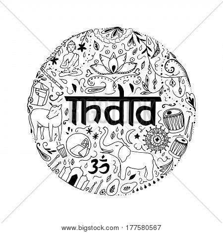 Symbols of India in the form of circle. Hand drawing elements of India on a white background.