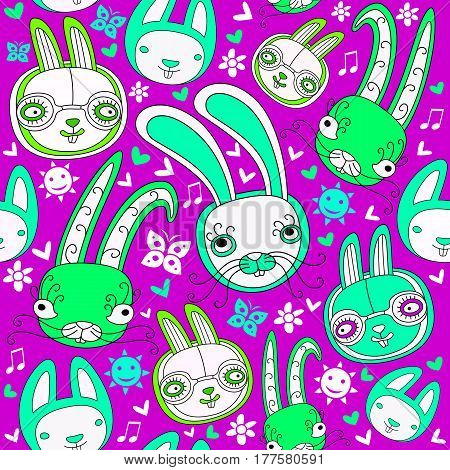 Easter colorful doodle seamless pattern with child drawn cute rabbits and floral design elements. These funny bunnies can be used as wrapping paper or holiday wallpaper. Vector illustration