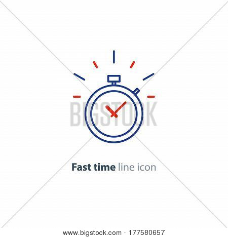 Fast time stop watch, last minute count down, limited offer, speed hour vector line icon