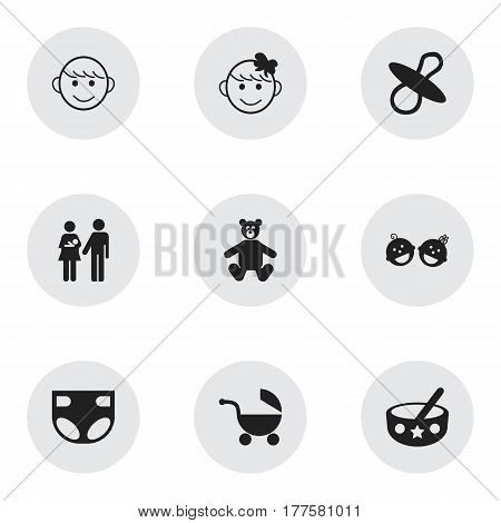 Set Of 9 Editable Infant Icons. Includes Symbols Such As Spoon, Cheerful Child, Lineage And More. Can Be Used For Web, Mobile, UI And Infographic Design.