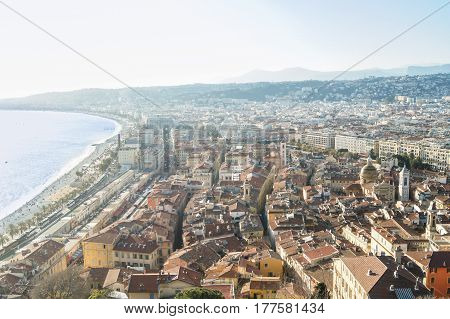 The city on the Cote d'Azur. Panoramic view of houses and streets of Nice.