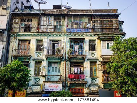 Old Buildings In Yangon, Myanmar